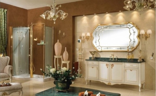 Classic Luxury Bathroom Furniture Gold Componibile Lineatre