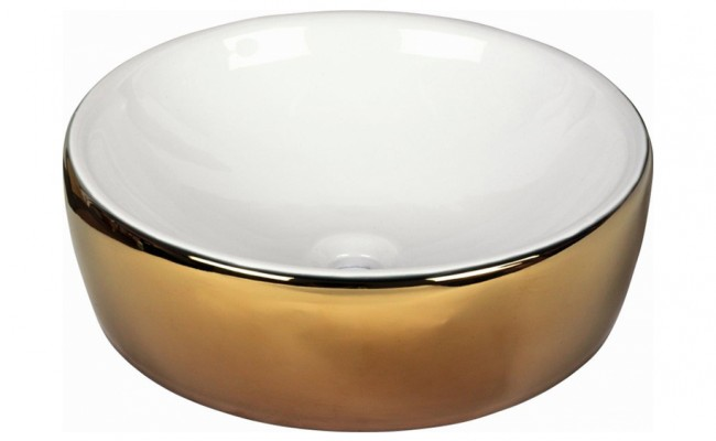 Eureka Basins Ceramics LAVABO WHITE AND GOLD 186924 43,5X43,5X13,5