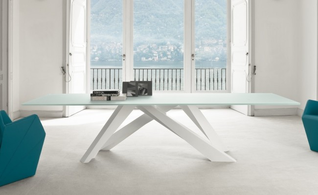 bonaldo big table white glass