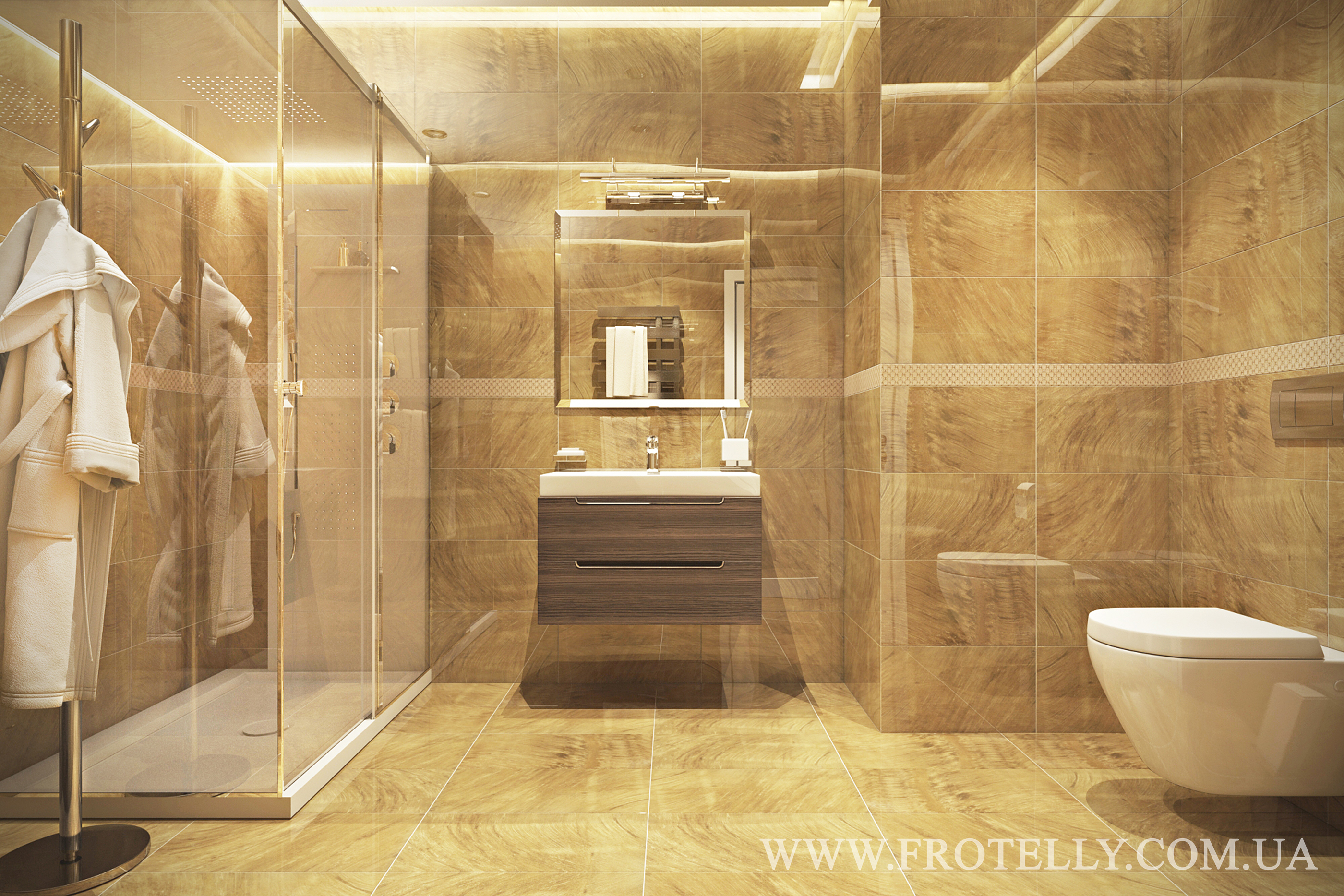 Проект ванной Marazzi Gemstone Gold